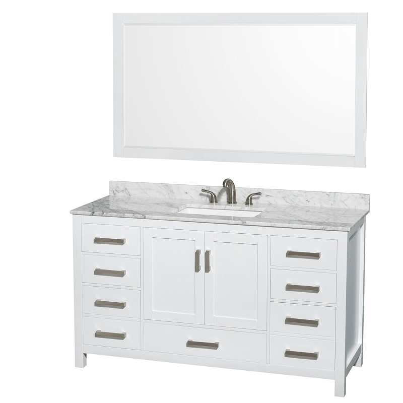 Wyndham Collection Wcs141460swhcmus3m58 Sheffield 60 Inch Single Bathroom Vanity Set In White With Sink And 58 Inch