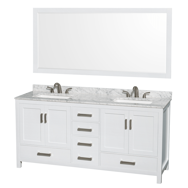 Wyndham Collection Wcs141472dwhcmus3m70 Sheffield 72 Inch Double Bathroom Vanity Set In White With Sinks And 70 Inch