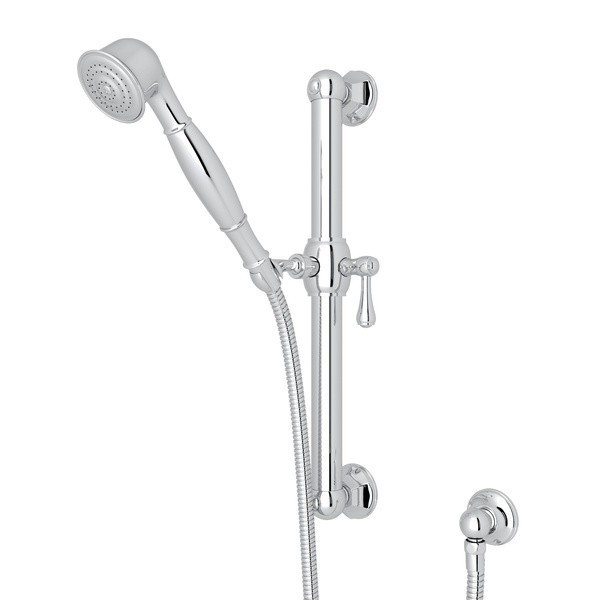ROHL 1282 PALLADIAN 24 INCH GRAB BAR SET WITH SINGLE-FUNCTION HANDSHOWER, HOSE AND WALL OUTLET