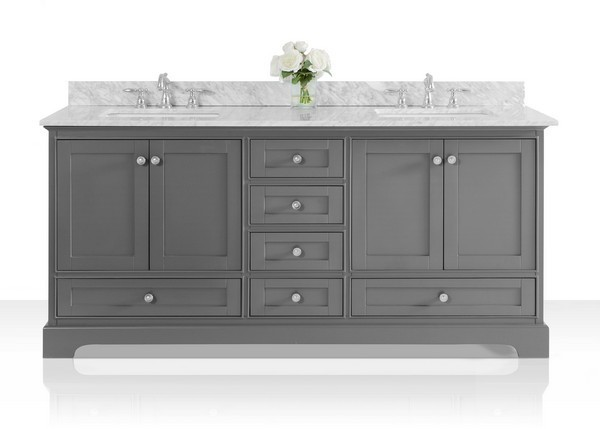 ANCERRE DESIGNS VTS-AUDREY-72-SG-CW AUDREY 72 INCH BATH VANITY SET IN  SAPPHIRE GRAY WITH ITALIAN CARRARA WHITE MARBLE VANITY TOP AND WHITE  UNDERMOUNT ...