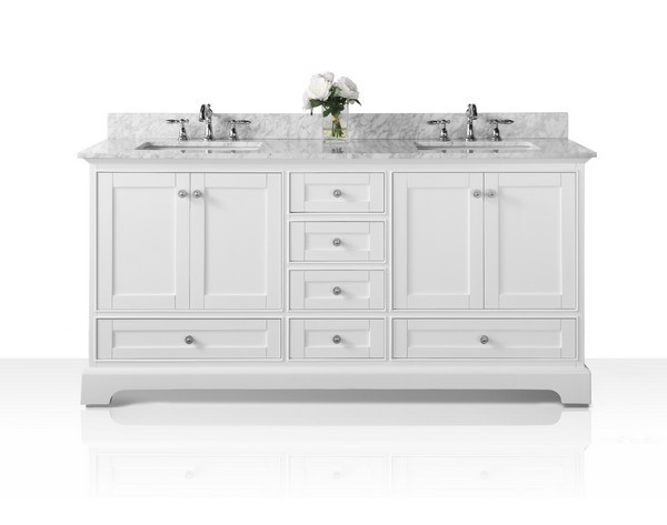 Ancerre Designs Vts Audrey 72 W Cw Audrey 72 Inch Bath Vanity Set In White With Italian Carrara White Marble Vanity