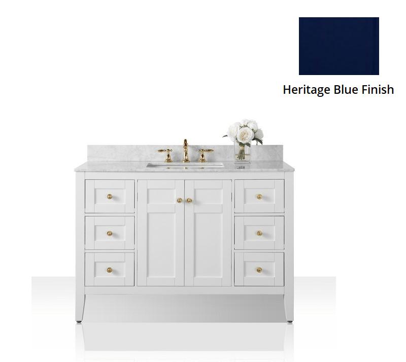 ANCERRE DESIGNS VTS-MAILI-48-HB-CW-GD MAILI 48 INCH BATH VANITY SET IN HERITAGE BLUE WITH ITALIAN CARRARA WHITE MARBLE VANITY TOP