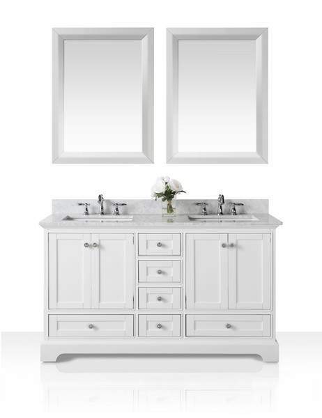 ANCERRE DESIGNS VTSM-AUDREY-60-W-CW AUDREY 60 INCH BATH VANITY SET IN WHITE WITH ITALIAN CARRARA WHITE MARBLE VANITY TOP AND 24 INCH WHITE MIRROR