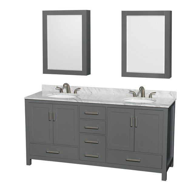 WYNDHAM COLLECTION WCS141472DKGCMUNOMED SHEFFIELD 72 INCH DOUBLE BATHROOM  VANITY IN DARK GRAY, WHITE CARRARA MARBLE COUNTERTOP, UNDERMOUNT OVAL  SINKS, ...