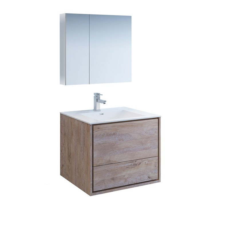 FRESCA FVN9230RNW CATANIA 30 INCH RUSTIC NATURAL WOOD WALL HUNG MODERN BATHROOM VANITY WITH MEDICINE CABINET