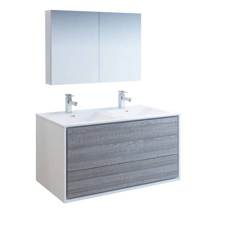 Magnificent Fresca Fvn9248Ha D Catania 48 Inch Glossy Ash Gray Wall Hung Double Sink Modern Bathroom Vanity With Medicine Cabinet Download Free Architecture Designs Ferenbritishbridgeorg
