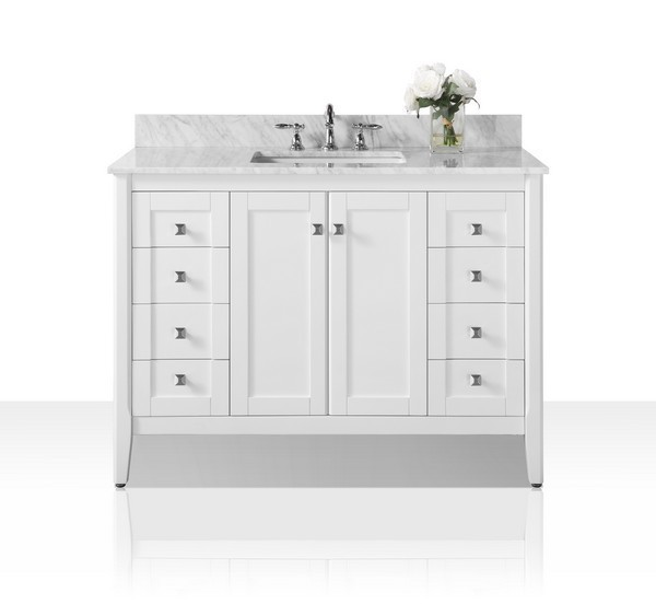 Ancerre Designs Vts Shelton 48 W Cw Shelton 48 Inch Bath Vanity Set In White With Italian Carrara White Marble Vanity