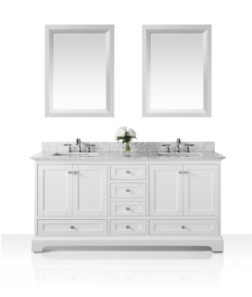 ANCERRE DESIGNS VTSM-AUDREY-72-W-CW AUDREY 72 INCH BATH VANITY SET IN WHITE WITH ITALIAN CARRARA WHITE MARBLE VANITY TOP AND 24 INCH WHITE MIRROR