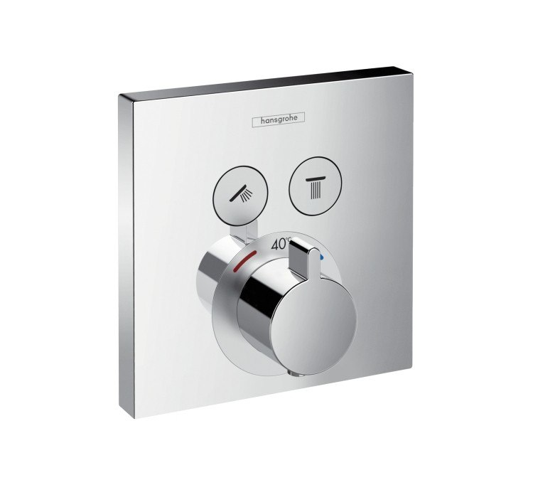 Hansgrohe 15763 ShowerSelect Square Thermostatic 2-Function Trim