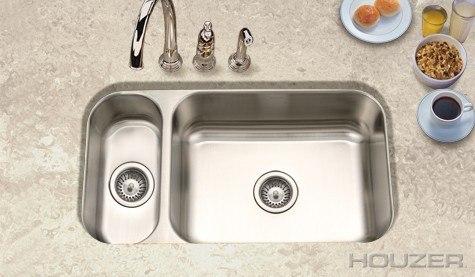Houzer EHD-3118 Elite 31.5 Inch Undermount Reversible 80/20 Double Bowl