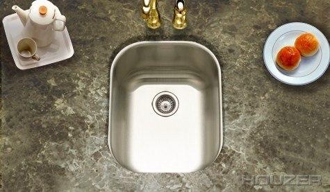 Houzer CS-1407-1 Undermount 13-5/8 Inch Medium Club Bar/Prep Sink Series
