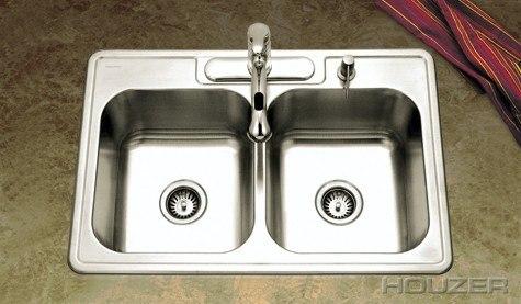 Houzer 3322-8BS Glowtone 33 Inch Topmount 50/50 Double Bowl