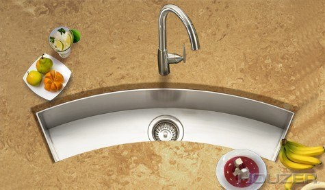 Houzer CTC-3312 Contempo 33 Inch Zero Radius Undermount Curved Trough Bar/Prep Sink