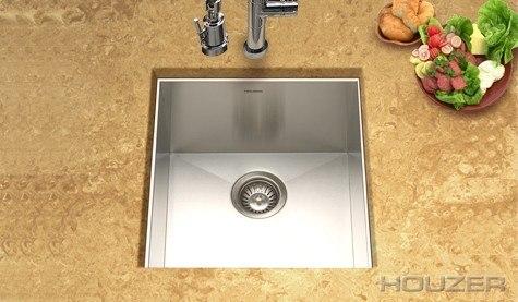 Houzer CTR-1700 Contempo 17 Inch Zero Radius Undermount Prep Sink