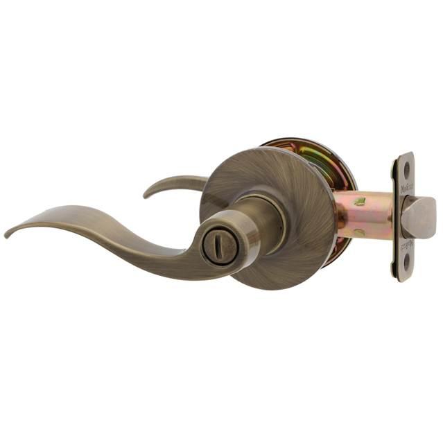 MaxGrade 200LON London Wave Style Privacy Turn Button Lock with Adjustable Backset and Radius Strike