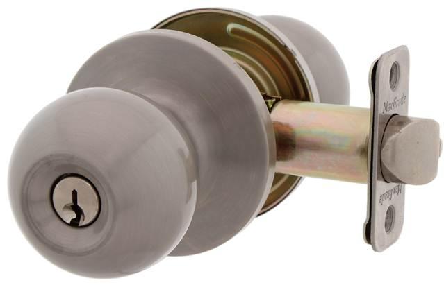 MaxGrade 300OXFKW Oxford Ball Style Keyed Entry Door Knob Lockset with Kwikset Keyway