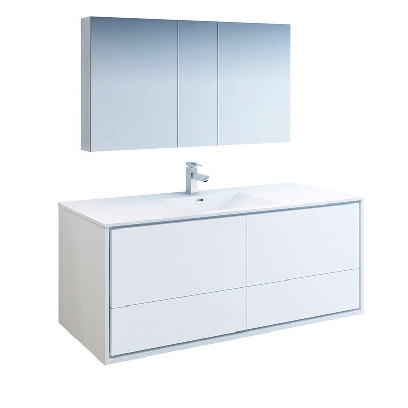 Fresca Fvn9260wh S Catania 60 Inch Glossy White Wall Hung Single Sink Modern Bathroom Vanity With Medicine Cabinet