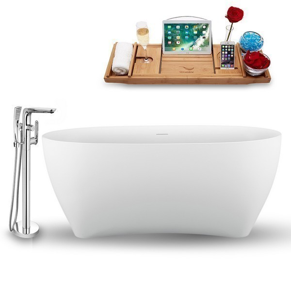 STREAMLINE N1740WH-120 59 INCH FREE-STANDING TUB IN GLOSSY WHITE WITH TRAY, INTERNAL DRAIN IN GLOSSY WHITE AND FAUCET H-120-TFMSHCH