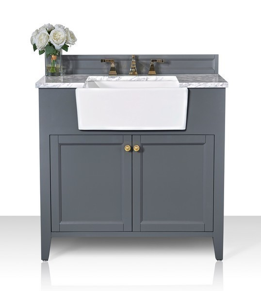 ANCERRE DESIGNS VTS-ADELINE-36-SG-CW-GD ADELINE 36 INCH BATH VANITY SET IN SAPPHIRE GRAY WITH ITALIAN CARRARA WHITE MARBLE VANITY TOP AND WHITE UNDERMOUNT BASIN WITH GOLD HARDWARE