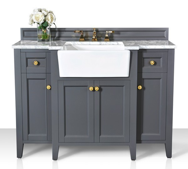 Astounding Ancerre Designs Vts Adeline 48 Sg Cw Gd Adeline 48 Inch Bath Vanity Set In Sapphire Gray With Italian Carrara White Marble Vanity Top And White Download Free Architecture Designs Scobabritishbridgeorg