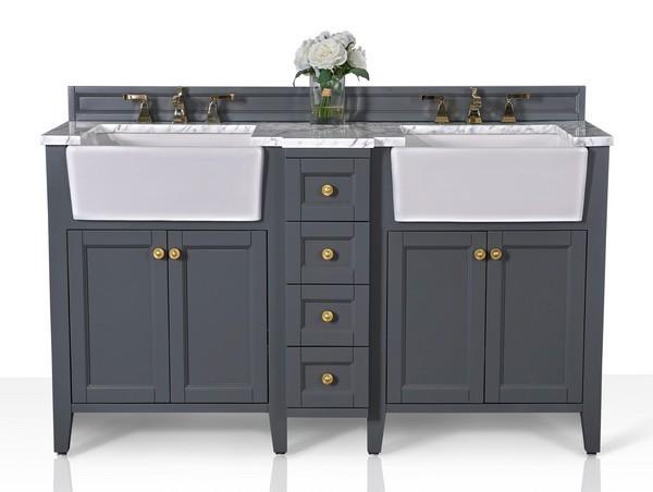 Ancerre Designs Vts Adeline 60 Sg Cw Gd Adeline 60 Inch Bath Vanity Set In Sapphire Gray With Italian Carrara White