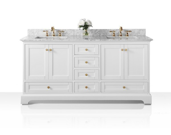 ANCERRE DESIGNS VTS-AUDREY-72-W-CW-GD AUDREY 72 INCH BATH VANITY SET IN WHITE WITH ITALIAN CARRARA WHITE MARBLE VANITY TOP AND WHITE UNDERMOUNT BASIN WITH GOLD HARDWARE