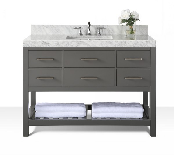 Awesome Ancerre Designs Vts Elizabeth 48 Sg Cw Elizabeth 48 Inch Bath Vanity Set In Sapphire Gray With Italian Carrara White Marble Vanity Top And White Download Free Architecture Designs Scobabritishbridgeorg