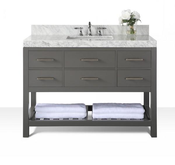 Ancerre Designs Vts Elizabeth 48 Sg Cw Elizabeth 48 Inch Bath Vanity Set In Sapphire Gray With Italian Carrara White
