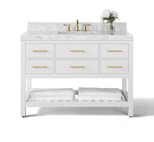ANCERRE DESIGNS VTS-ELIZABETH-48-W-CW-GD ELIZABETH 48 INCH BATH VANITY SET IN WHITE WITH ITALIAN CARRARA WHITE MARBLE VANITY TOP AND WHITE UNDERMOUNT BASIN WITH GOLD HARDWARE