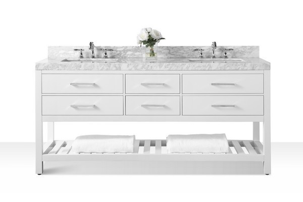 ANCERRE DESIGNS VTS-ELIZABETH-72-W-CW ELIZABETH 72 INCH BATH VANITY SET IN WHITE WITH ITALIAN CARRARA WHITE MARBLE VANITY TOP AND WHITE UNDERMOUNT BASIN