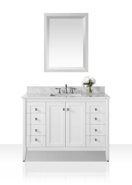 ANCERRE DESIGNS VTSM-SHELTON-48-W-CW SHELTON 48 INCH BATH VANITY SET IN WHITE WITH ITALIAN CARRARA WHITE MARBLE VANITY TOP AND 28 INCH WHITE MIRROR