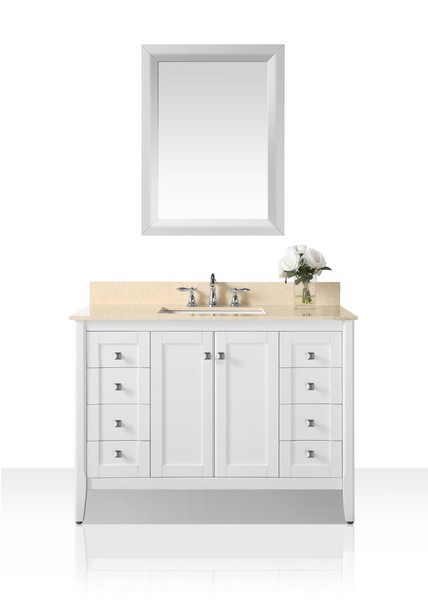 ANCERRE DESIGNS VTSM-SHELTON-48-W-GB SHELTON 48 INCH BATH VANITY SET IN WHITE WITH NATURAL MARBLE VANITY TOP IN GALALA BEIGE AND 28 INCH WHITE MIRROR