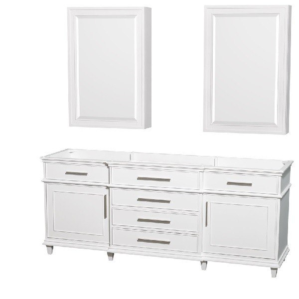 WYNDHAM COLLECTION WCV171780DWHCXSXXMED BERKELEY 80 INCH DOUBLE BATHROOM VANITY IN WHITE AND MEDICINE CABINETS
