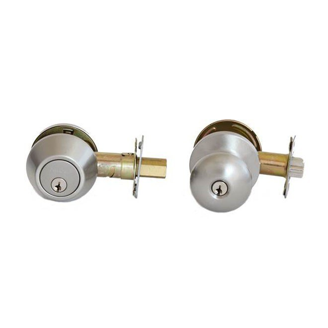 MaxGrade 500WAT Watson Door Entry Knob and Single Cylinder Deadbolt Combo Pack Keyed Alike
