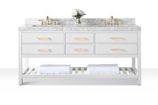 Ancerre Designs Vts Elizabeth 72 W Cw Gd Elizabeth 72 Inch Bath Vanity Set In White With Italian Carrara White Marble