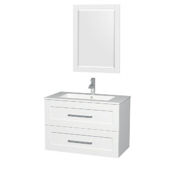 WYNDHAM COLLECTION WCR450036SGWARINTM24 36 INCH SINGLE BATHROOM VANITY IN GLOSSY WHITE, ACRYLIC RESIN COUNTERTOP, SINK, AND MIRROR