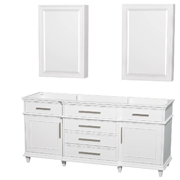 WYNDHAM COLLECTION WCV171772DWHCXSXXMED BERKELEY 72 INCH DOUBLE BATHROOM VANITY IN WHITE AND MEDICINE CABINETS