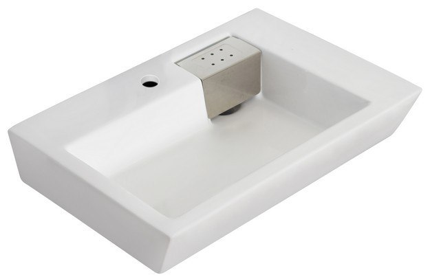 American Imaginations AI-705 Rectangle 26 x 17.75 Inch Wall Mount Vessel For Single Hole Faucet