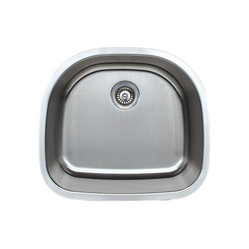 Wells Sinkware CMU2421-9D-16-1 Craftsmen Series 24 Inch Undermount 16 Gauge  D-shaped Single Bowl Stainless Steel Kitchen Sink Package