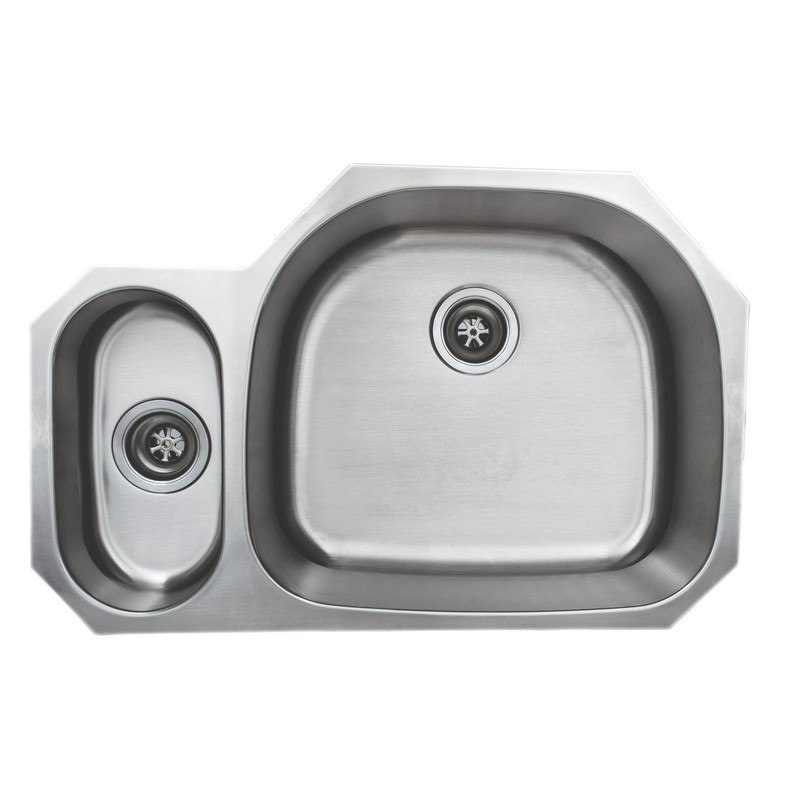 WELLS SINKWARE CMU3221-59D-1 CRAFTSMEN SERIES 18 GAUGE 20/80 DOUBLE BOWL 32X21 INCH UNDERMOUNT STAINLESS STEEL KITCHEN SINK WITH D-SHAPE BOWL ON RIGHT MATTE FINISH PACKAGE