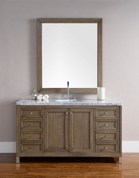 JAMES MARTIN 305-V60S-WWW-3AF CHICAGO 60 INCH WHITEWASHED WALNUT SINGLE VANITY WITH 3 CM ARCTIC FALL SOLID SURFACE TOP