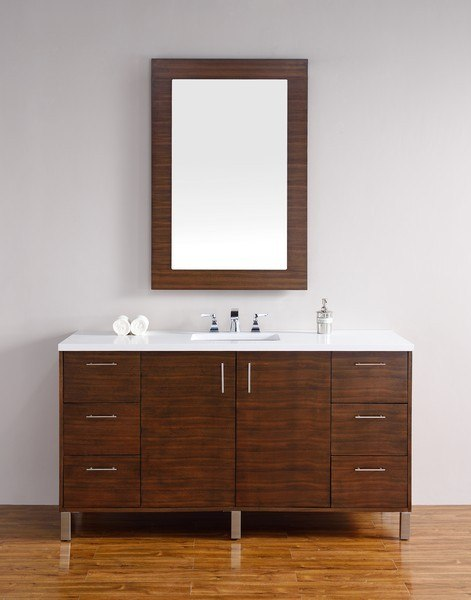 JAMES MARTIN 850-V60S-AWT-3AF METROPOLITAN 60 INCH AMERICAN WALNUT SINGLE VANITY WITH 3 CM ARCTIC FALL SOLID SURFACE TOP