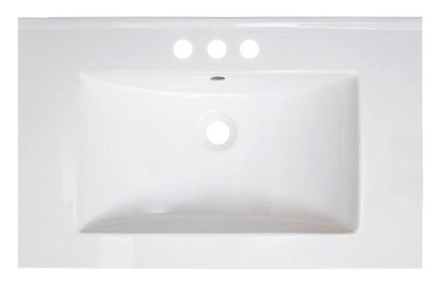 AMERICAN IMAGINATIONS AI-1200 VEE 30 X 18.5 INCH RECTANGLE CERAMIC TOP IN WHITE COLOR FOR 4-IN O.C. FAUCET