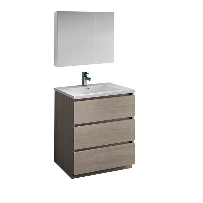 . FRESCA FVN9330MGO LAZZARO 30 INCH GRAY WOOD FREE STANDING MODERN BATHROOM  VANITY WITH MEDICINE CABINET