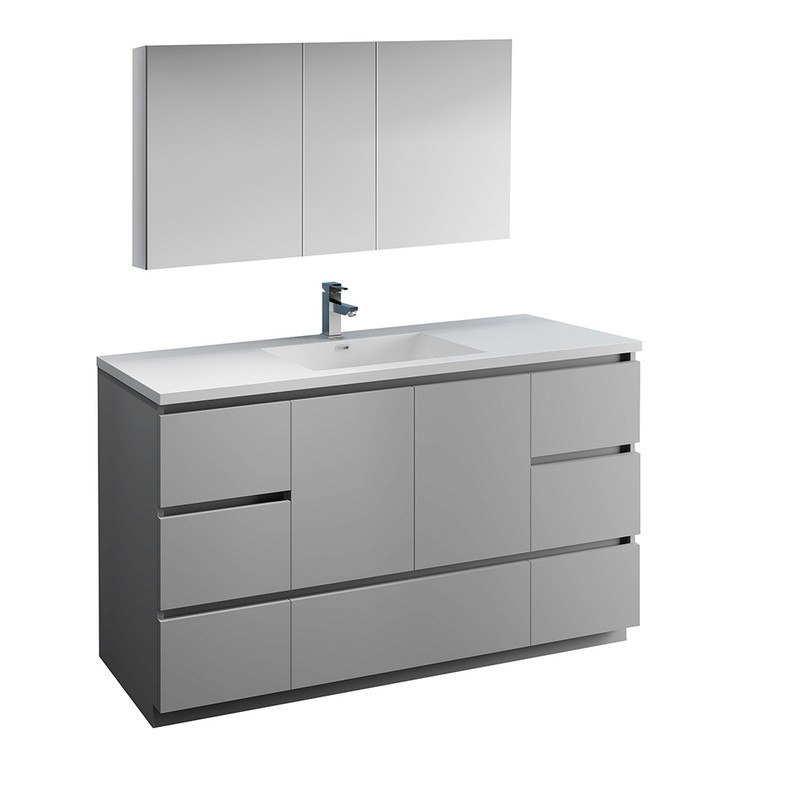 FRESCA FVN9360GR-S LAZZARO 60 INCH GRAY FREE STANDING SINGLE SINK MODERN BATHROOM  VANITY WITH MEDICINE