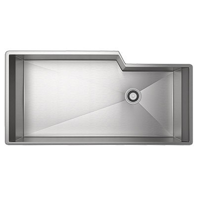 Rohl RGK3016 Luxury Stainless Steel 35-1/8 Inch Single Bowl Kitchen Sink in Brushed Stainless Steel