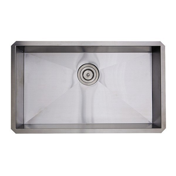 NANTUCKET SINKS SS-PRO-ZR3018-5.5 30 INCH SINGLE BOWL ZERO RADIUS ADA STAINLESS STEEL KITCHEN SINK