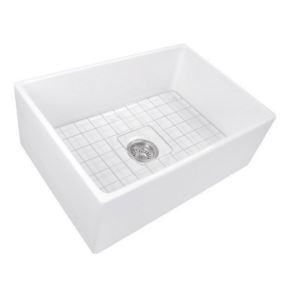 NANTUCKET SINKS T-FCFS27 CAPE 27 INCH FARMHOUSE FIRECLAY SINK WITH DRAIN AND GRID