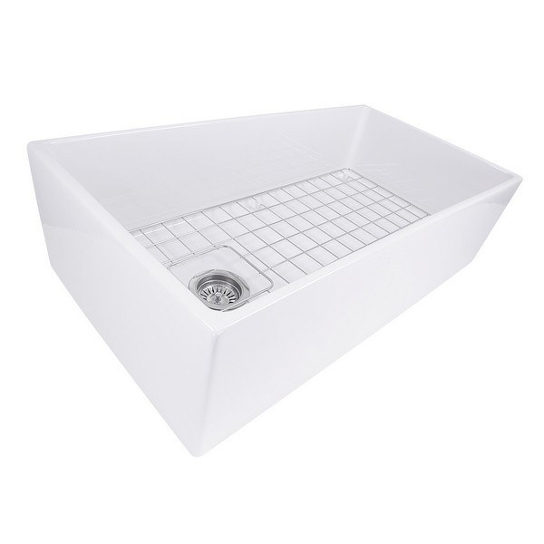 Nantucket Sinks T-FCFS36 Cape 36 Inch Farmhouse Fireclay Sink with Offset Drain and Grid