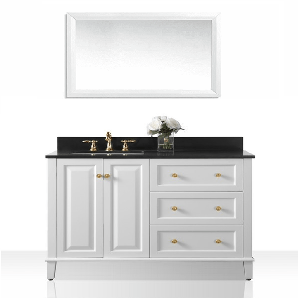 ANCERRE DESIGNS VTSM-HANNAH-48-L-W-B-GD HANNAH 48 INCH OFF CENTERED LEFT BASIN VANITY SET IN WHITE WITH BLACK GRANITE VANITY TOP AND MIRROR WITH GOLD HARDWARE